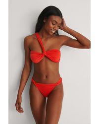 NA-KD Red Recycled Twisted High Cut Bikini Panty