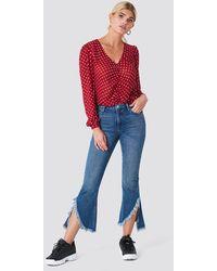 Rut&Circle Raw Asymmetric Hem Jeans - Blauw