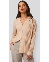 NA-KD Classic Pleated Blouse - Roze