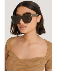NA-KD Brown Oversize Rounded Cateye Sunglasses - Multicolour