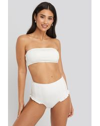 NA-KD Wide Ribbed Bandeau Top - Wit