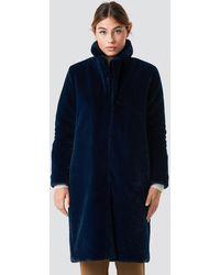 Rut&Circle Long Faux Fur Coat - Blauw