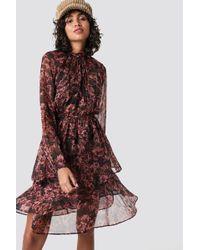NA-KD Boho High Frill Neck Dress - Pink
