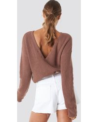 NA-KD - Knitted Deep V-neck Sweater Dusty Dark Pink - Lyst