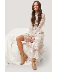 NA-KD White Smocked Waist Midi Dress - Natural