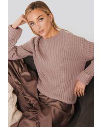 NA-KD Folded Sleeve Chunky Sweater - Roze