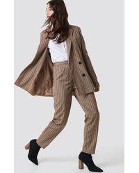NA-KD Classic Straight Leg Striped Suit Pants - Braun