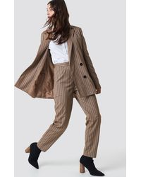 NA-KD Straight Leg Striped Suit Pants Brown - Natural