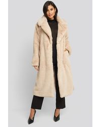 NA-KD Soft Faux Fur Long Coat - Naturel