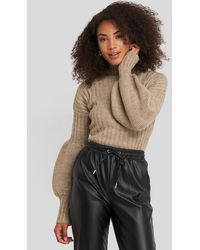 Trendyol High Neck Puff Sleeve Knitted Sweater - Mehrfarbig