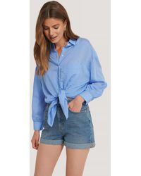 NA-KD Jeans-Shorts Mit Gefaltetem Saum - Blau