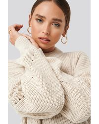 NA-KD Detailed Sleeve Oversized Knitted Sweater - Naturel