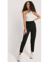 NA-KD Cropped Pantalon Met Hoge Taille - Zwart