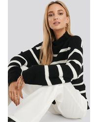 NA-KD High Neck Striped Knitted Sweater - Zwart