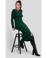 Trendyol Binding Detailed Ribana Dress - Groen