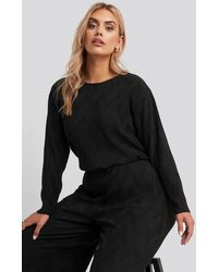 NA-KD - Creased Effect Round Neck Top - Lyst