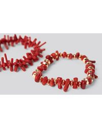 NA-KD Accessories 2-pack Coral Look Bracelets - Rood