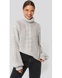 NA-KD Gray Chunky Cable Knit Sweater