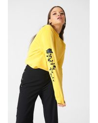 NA-KD - Rose Embroidery Sleeve Sweater Light Yellow - Lyst