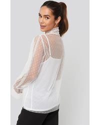 NA-KD Bow Tie Dotted Mesh Blouse - Wit