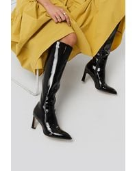 NA-KD Shoes Glossy Patent Shaft Boots - Schwarz