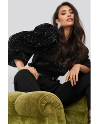 NA-KD Party Puff Sleeeve Sequin Blouse - Zwart