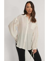 NA-KD Offwhite Oversized Balloon Sleeve Shirt