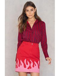 NA-KD Pink Flame Denim Skirt - Rose
