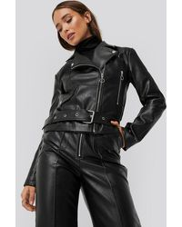 NA-KD Black Faux Leather Seam Detail Jacket
