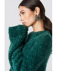 NA-KD Feather Wide Sleeve Sweater - Groen