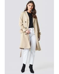 NA-KD Belted Trench Coat - Natur