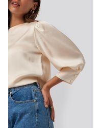 NA-KD Beige Puff Sleeve Blouse - Natural