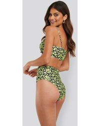 Trendyol Floral Frilly High Waist Bikini - Groen