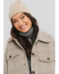 NA-KD Accessories Cableknit Chunky Beanie - Natur