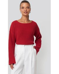 NA-KD Cropped Long Sleeve Knitted Sweater - Rood