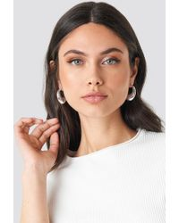 NA-KD Thick Pointy Hoops (double Pack) Silver - Metallic