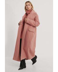 NA-KD Pink Oversized Maxi Coat