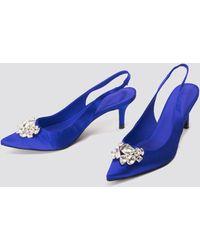 NA-KD Light Embellished Kitten Heel Pumps - Bleu