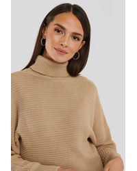 NA-KD Folded Knitted Sweater - Naturel