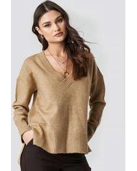 NA-KD Deep V-neck Oversized Sweater - Natur