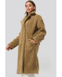 NA-KD Big Collar Teddy Coat - Bruin