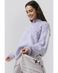 NA-KD Cable Detail Knitted Sweater - Paars