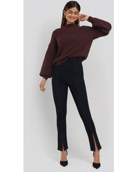 NA-KD High Waist Front Slit Skinny Jeans - Blau