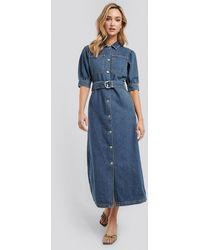 NA-KD Blue Puff Sleeve Belted Denim Dress