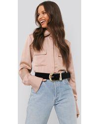 NA-KD Shiny Pocket Shirt - Roze