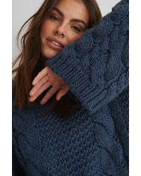 NA-KD Chunky Cable Knitted Sweater - Blauw