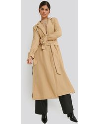 NA-KD Fluid Slit Trenchcoat Beige - Natural