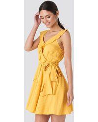 Trendyol Mustard Frilly Binding Dress - Geel