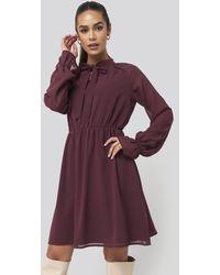 NA-KD Red Chiffon Buttoned Dress