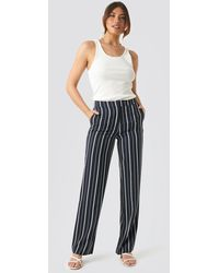 NA-KD Classic Wide Striped Suit Pants - Blauw